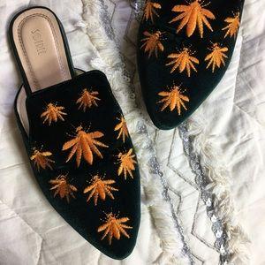 Shoes - Green Velvet Bug Embroidered Mules Slip On Slides